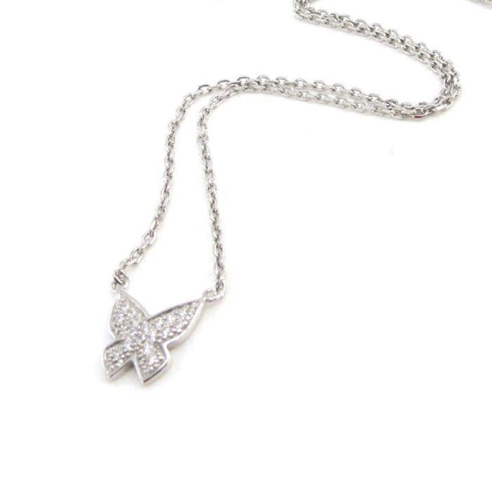 Collier Argent Papillon blanc