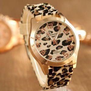 MONTRE quartz Golden Femmes unisexe Genève Leopard silico