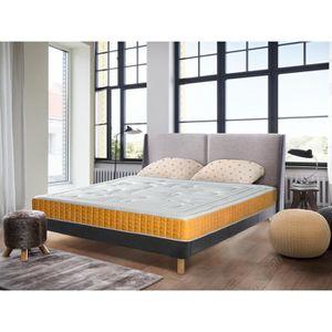 lit avec sommier et matelas 140x200 achat vente pas cher. Black Bedroom Furniture Sets. Home Design Ideas