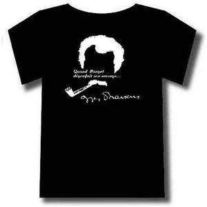 T-SHIRT Tee-shirt Noir Georges Brassens avec Signature.Cha