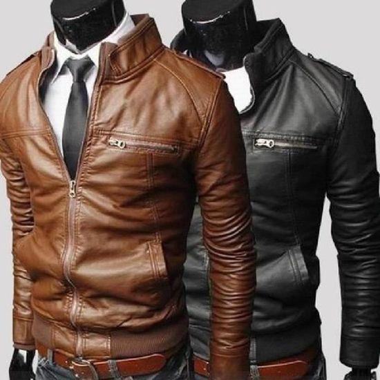 Veste en cuir PU col stand hommes (souhaits Taille S - M - L - XS) marron M e16e93f3b39