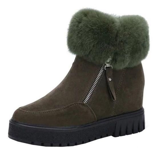 Accrue Zip Chaudes Vert D'hiver De Bottillons Courts Neige Femmes Casual Z7nWxx