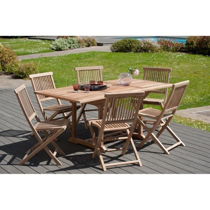 JAVA Lot de 2 chaises de jardin en bois teck JARDITECK - Achat ...
