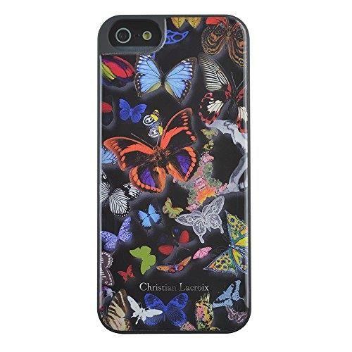 C-LACROIX Coque motif papillon Iphone 4 - Noire