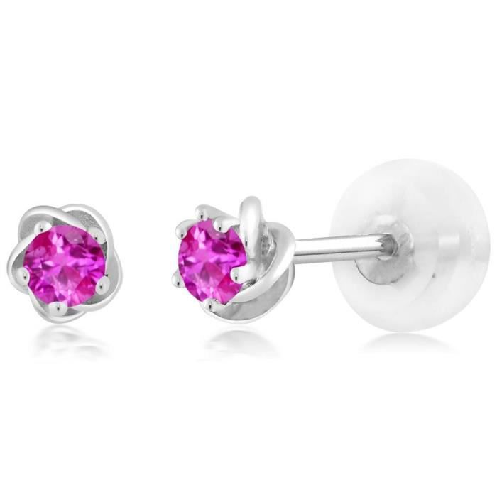 Womens 0.26 Ct Round 3mm Pink Sapphire 10k White Gold Stud Flower Earrings A1N0I