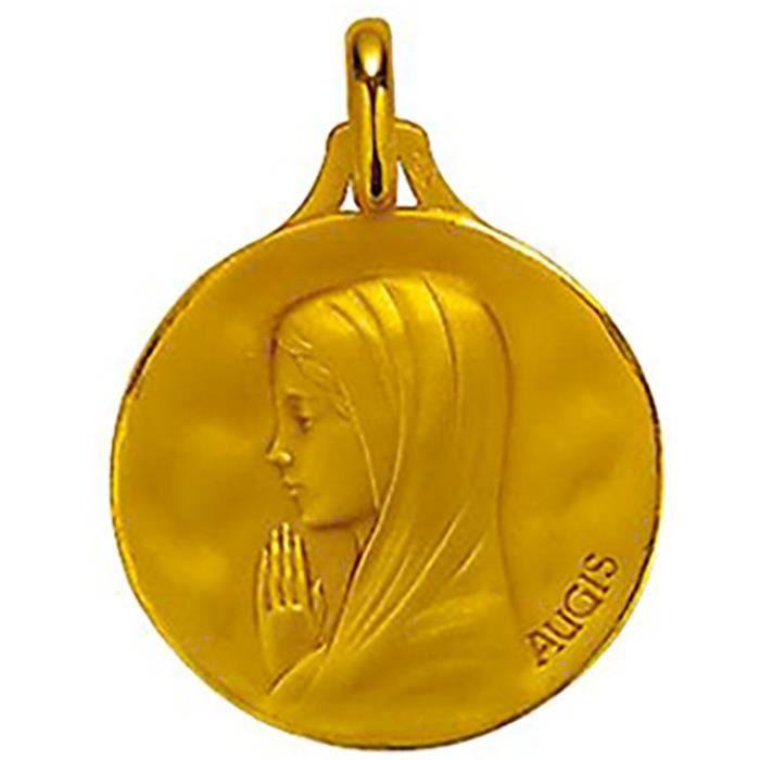 Médaille Augis vierge en or jaune 18 carats