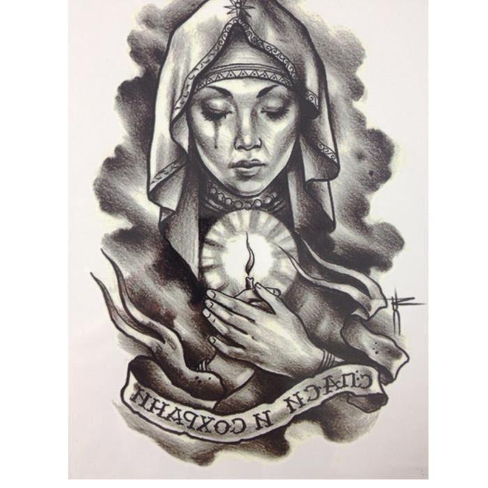Tatouage Temporaire Ephemere Realiste Motif Femme Religieuse