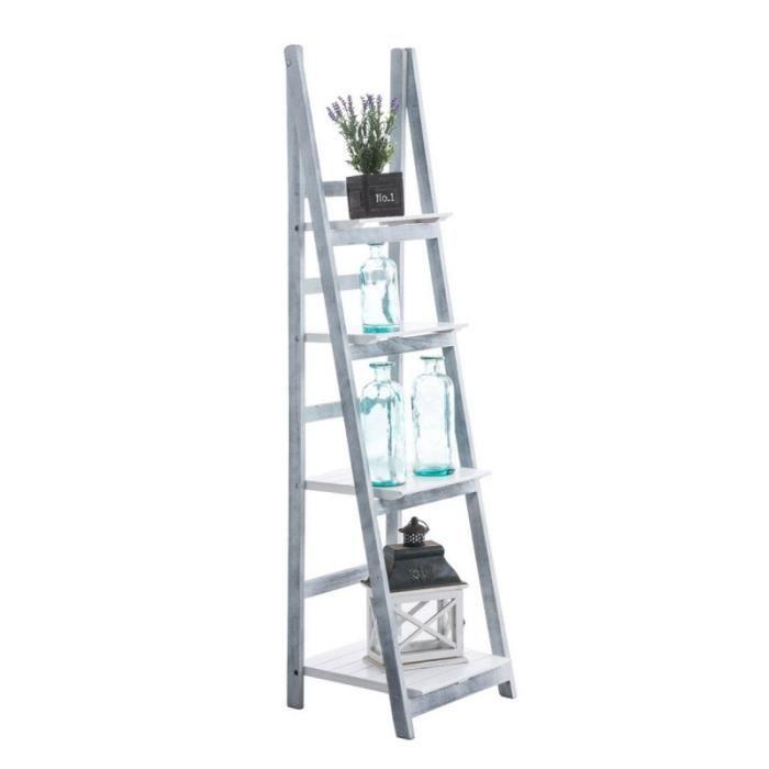 echelle tag re plante d coration vintage en bois gris blanc vieilli 4 niveaux eta10014 achat. Black Bedroom Furniture Sets. Home Design Ideas