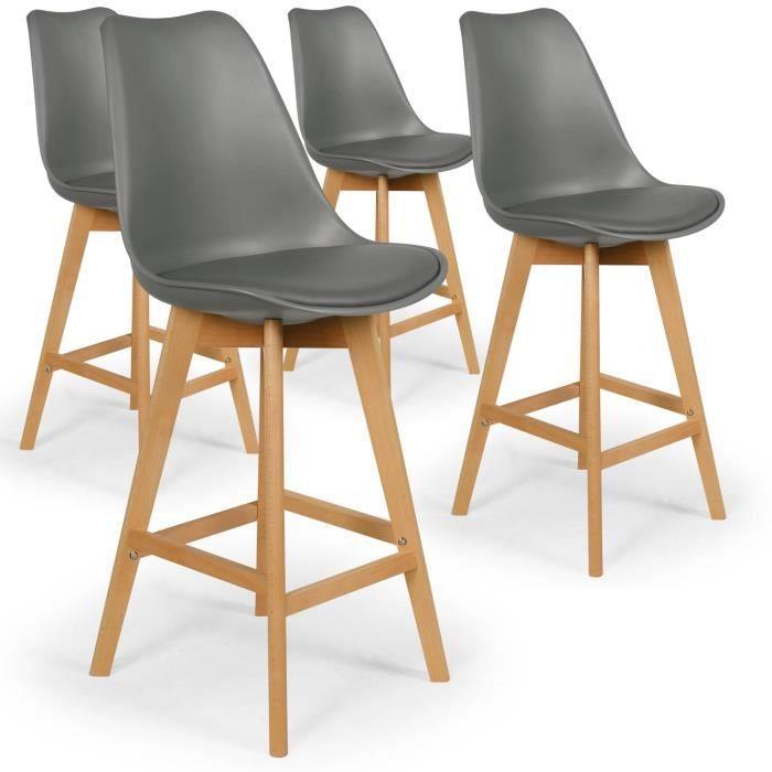 chaise lot de 4 chaises hautes scandinaves bovary gris - Chaises Hautes Scandinaves