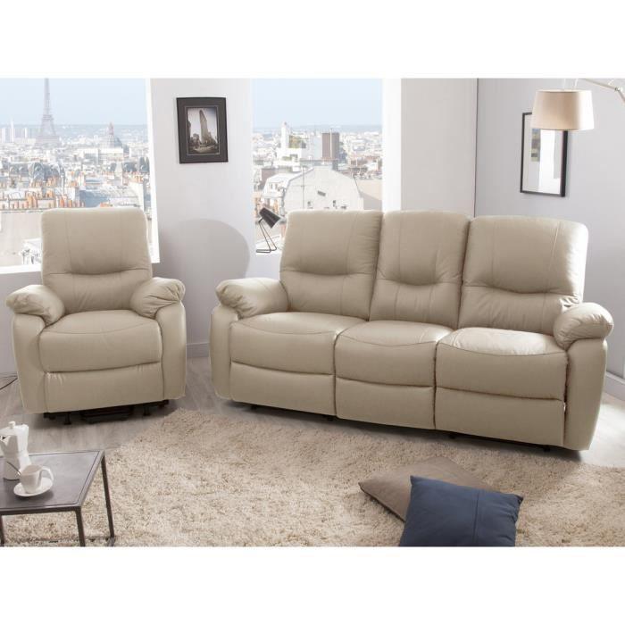 Ensemble canapé 3 places 2 relax manuel fauteuil releveur