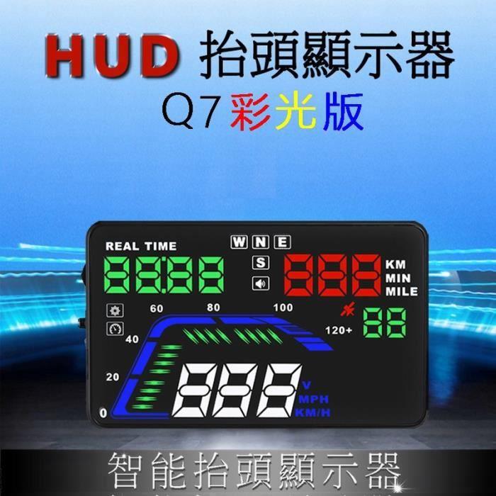 Q7 Universel Voiture 3 pouce HUD Tête Affichage Numérique Voiture Tachymètre Pare-Brise Projecteur Voiture OBD