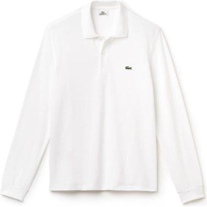 d0506e19ced Polo Lacoste uni manches longues L1312 001 blanc. Blanc - Achat ...