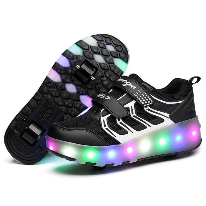 Mode enfants chaussures filles garçons à roulettes LED Lumière Heelys ChaussuresSneakers Avec Deux Roues ®KIANII Noir
