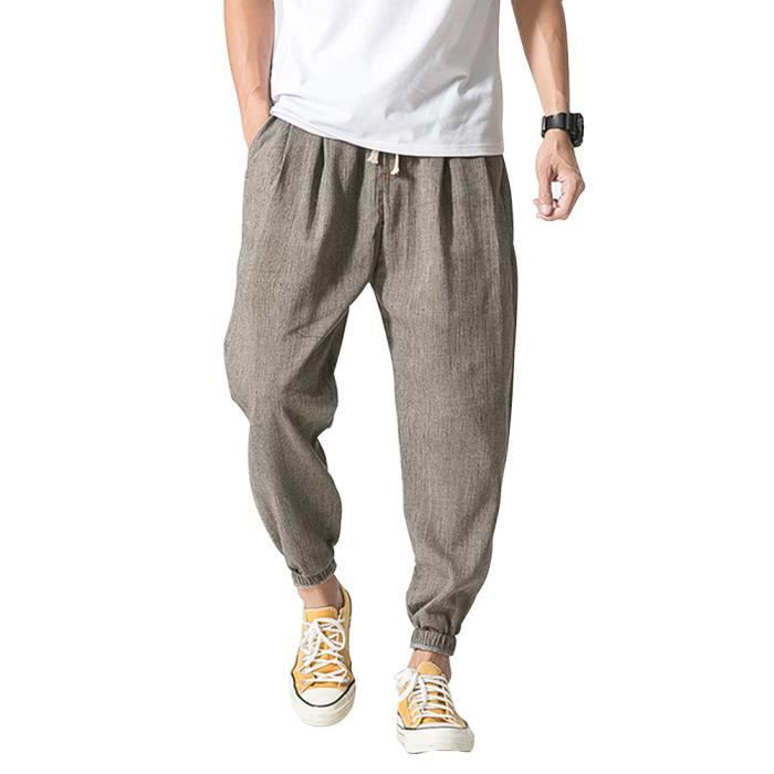 Sarouel D'été Décontracté Homme Lin En Pantalon Minetom Taille Mode E5CSHwqHx