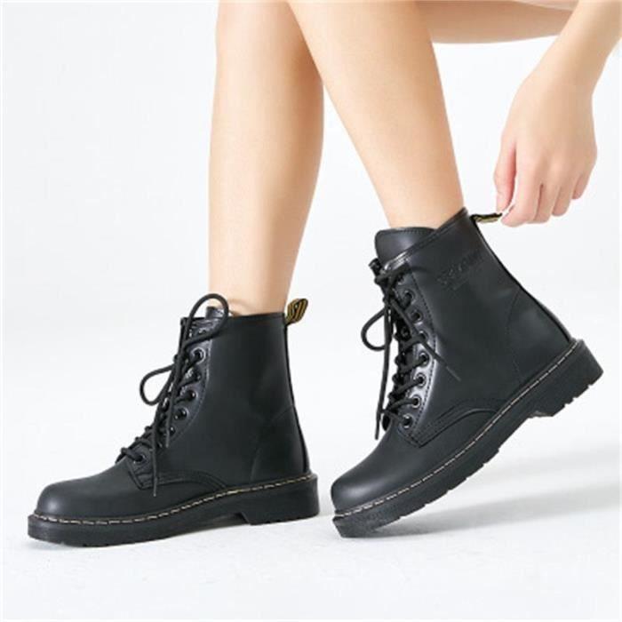 Bottes Classique de Moto pour Femme Chaussure à Lacets Matin Confortable et Chaud Automne Hiver 35 43 Noir