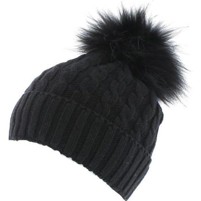e127824a7dea Toronto - Noir - Bonnet pompon fourrure - votrechapeau Noir Noir ...