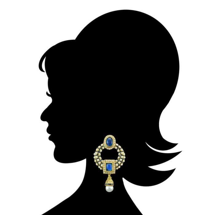Womens Kundans Jewellery Blue Metal Alloy Dangler Drop Ear Rings ForTUMDP