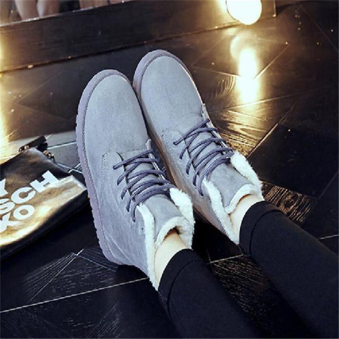 Bottine Femme hiver chaud hiver Coton peluche boots BBDG-XZ002Gris-35 yPR8iO0kuZ