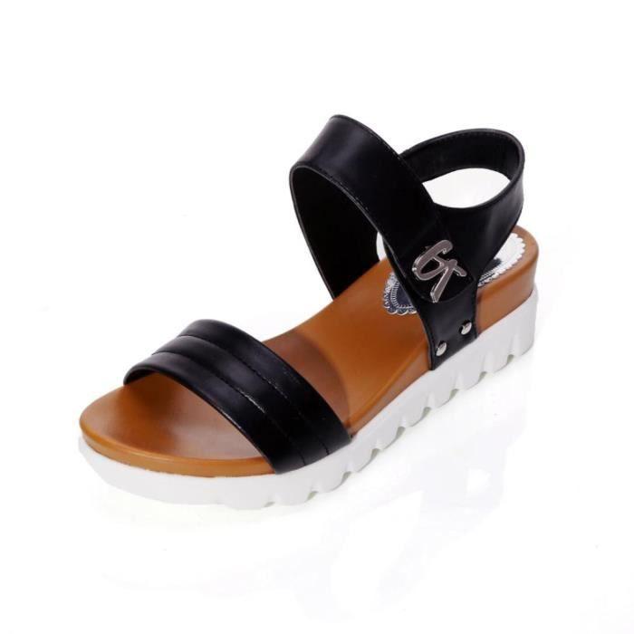 Âgées Pour Femmes Les 6236 Dames Chaussures Mode D'été xiezi Plates Confortables Black Sandales 1YwxnSS