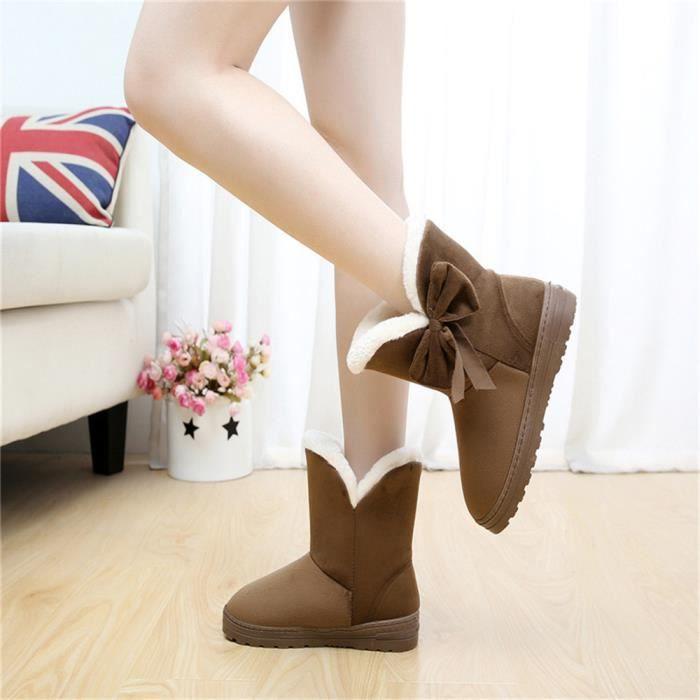 Bottine Femme Hiver Comfortable Peluche Durable Boots XX-XZ014Marron-37