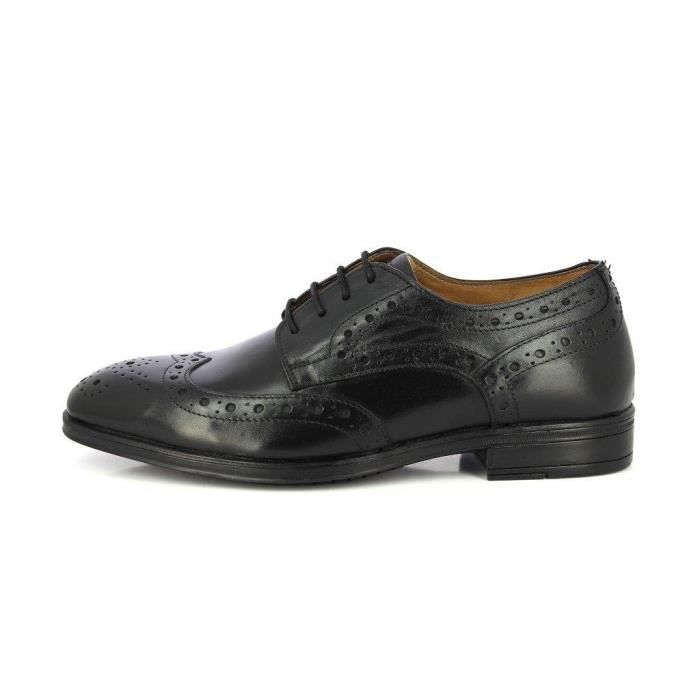 Alberto Torresi Geniune Leather Classic Lace Up Closure Brogue Durbey Dress Black Formal Shoes DO1BK Taille-46