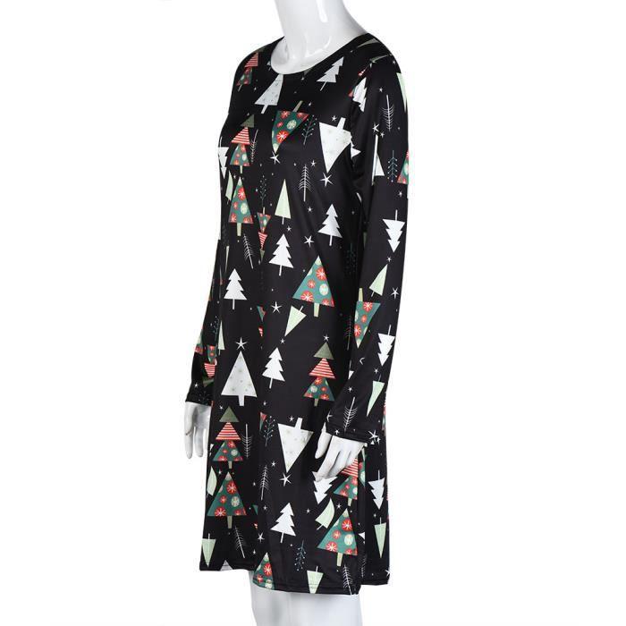 Revesaleer®Femmes Xmas Print Swing robe de Noël à manches longues robes de soirée évaséeHQL61108509L