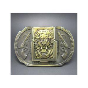 CEINTURE ET BOUCLE boucle de ceinture tigre et pistolet doré + brique 19641758bc9