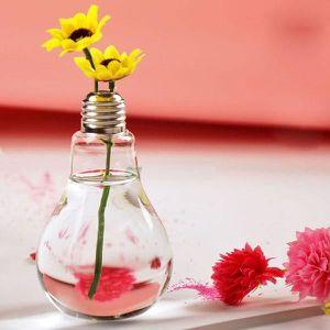 Fleurs stabilisées Effacer ampoule Pied Verre Fleur Plante Vase hydro