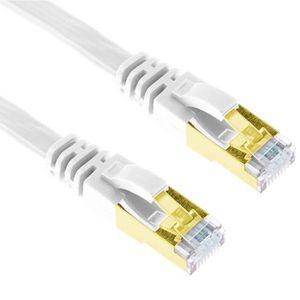 CÂBLE RÉSEAU  3m Blanc Cat7 Câble Ethernet Plat Blindé RJ45 LAN