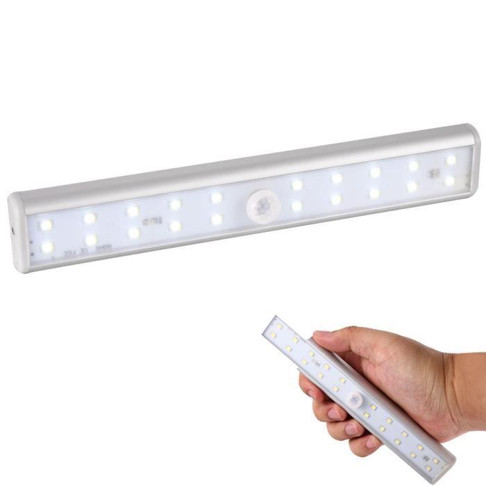 lampe adhésif 20 leds bande eclairage sans fil capteur mouvement