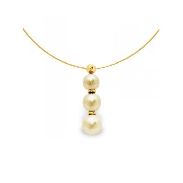 b4aa1ab5749 Collier Cable en Or Jaune 750-1000 et 3 Perles d eau douce Dorées - Blue  Pearls