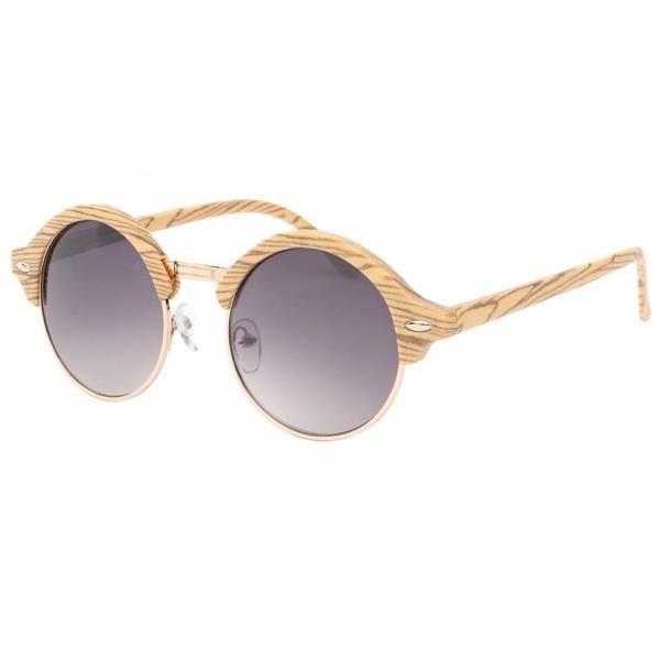 4eff129ddedf74 Lunette de soleil ronde imitation Bois Jude - Achat   Vente lunettes ...