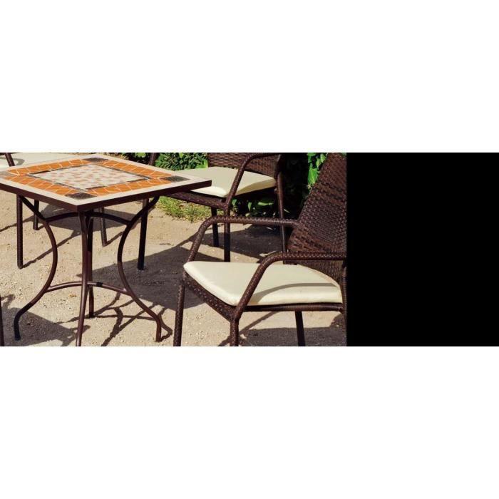 Salon de jardin 4 personnes plateau mosaïque Settel Tarsos ...