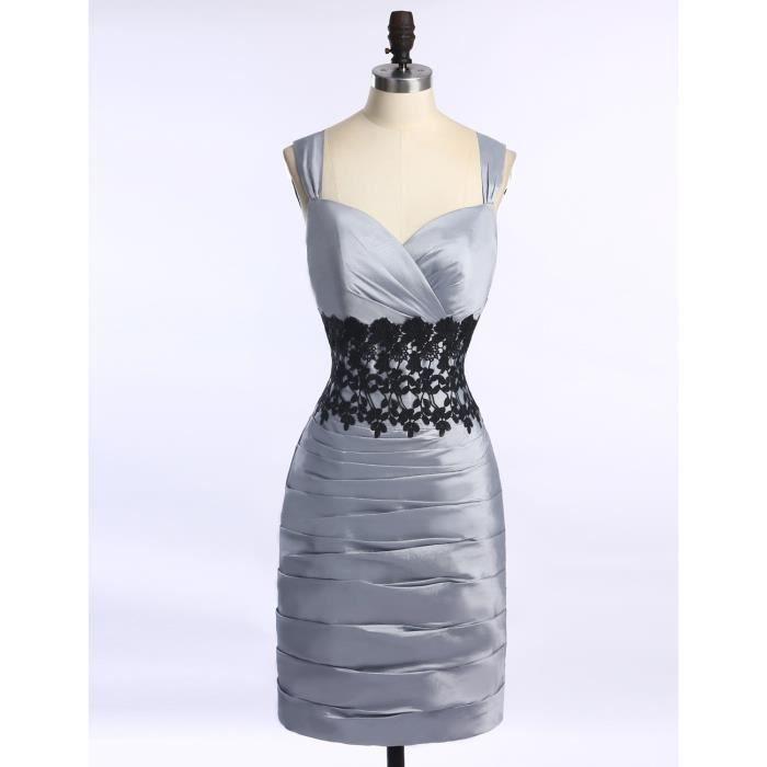 67d01404480d1 Robe de mère de la mariée de soirée sans manches courte fourreau moulant  plissé dentelle taffetas satin élégante argenté