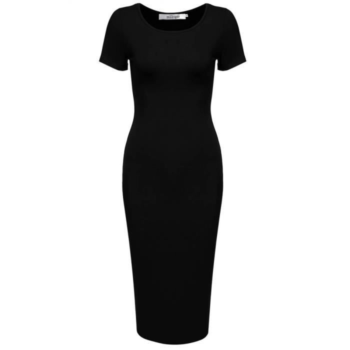 Robe femme Finejo O-cou manches courtes Slim Fit