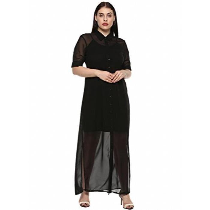 Plus Size robe longue noire chemise de la femme O2MI2 Taille-42