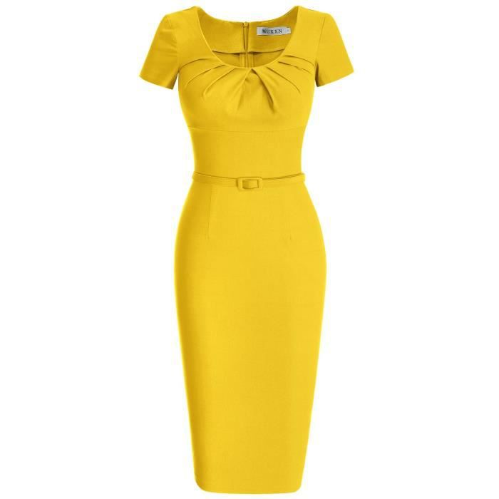 Femmes manches courtes 1950 Robe crayon 2VOSJE Taille-44