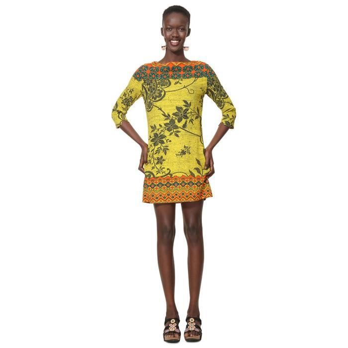 e9c21de5c5c59 Vêtements femme Robes Desigual Astrid Jaune Jaune - Achat   Vente ...