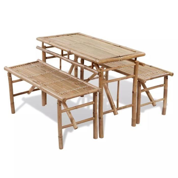Haute qualité Jeu de table de pique-nique 3 pcs Pliable Bambou