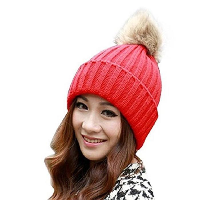les femmes hiver fourrure de lapin balle chapeau chaud crochet de bonnet de  laine tricote(Rouge) 3d739077d73