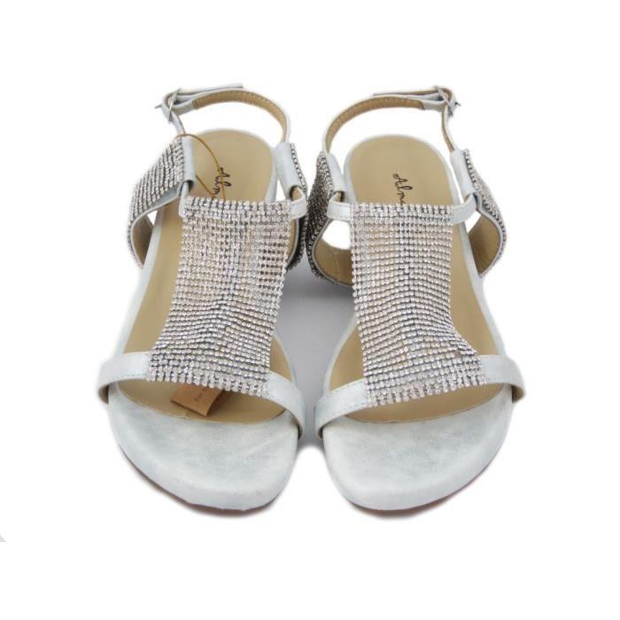Alma en Pena. Sandale Jewel en faux cuir couleur argent, plate-forme 4cm semelle., 285