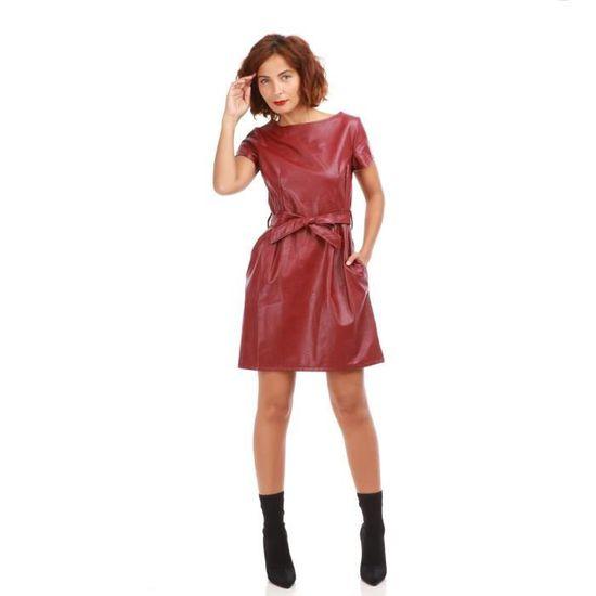 871bde0c7ad Robe bordeaux en simili cuir-M Rouge Rouge - Achat   Vente robe - French  Days dès le 26 avril ! Cdiscount