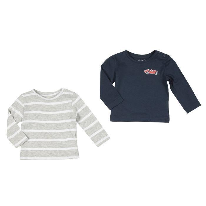 BÉBÉ RêVE Lot de 2 T-shirts Jersey Gris et marron Bébé mixte