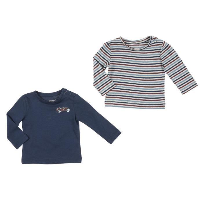 BÉBÉ RêVE Lot de 2 T-shirts Jersey Bleu, gris et marron Bébé mixte