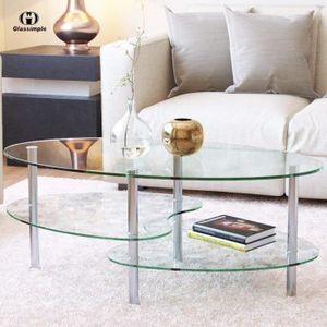 TABLE BASSE UBonheur Table à café en Verre Table Basse Pieds e