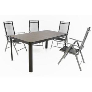 SALON DE JARDIN  lot 4 chaises pliantes textilene noir + table avec