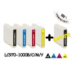 CARTOUCHE IMPRIMANTE Pack 5  compatibles Brother LC970 LC1000
