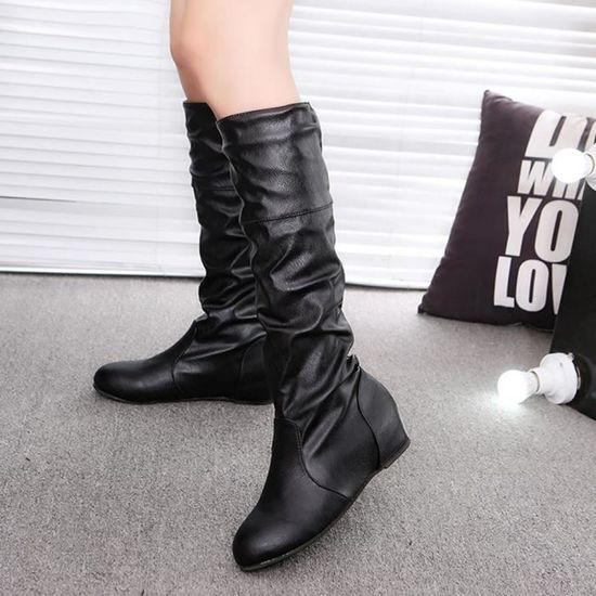 Femmes hiver couleur unie plat Martin pointu haute longues bottes chaussures de sport@Noir   HEXIAOqin 1756 Noir Noir - Achat / Vente botte