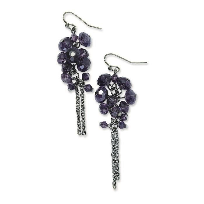 Noir-Violet-Cristaux Boucles doreilles pendantes
