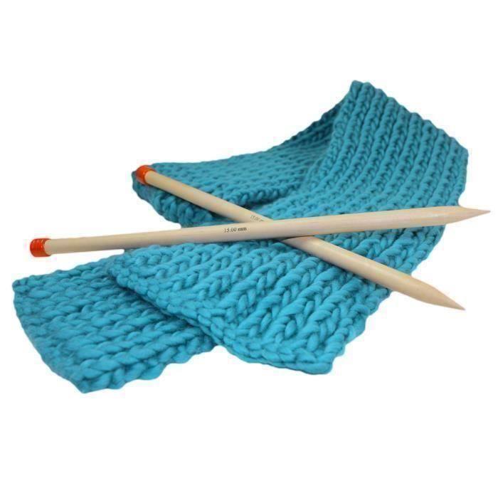 b5be186cccdb Kit Tricot Débutant pour tricoter une Maxi Echarpe Grosse Laine Bleu  Turquoise